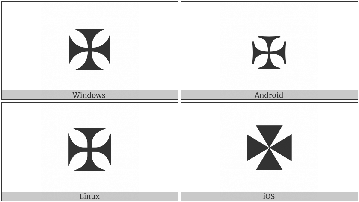 Maltese Cross on various operating systems
