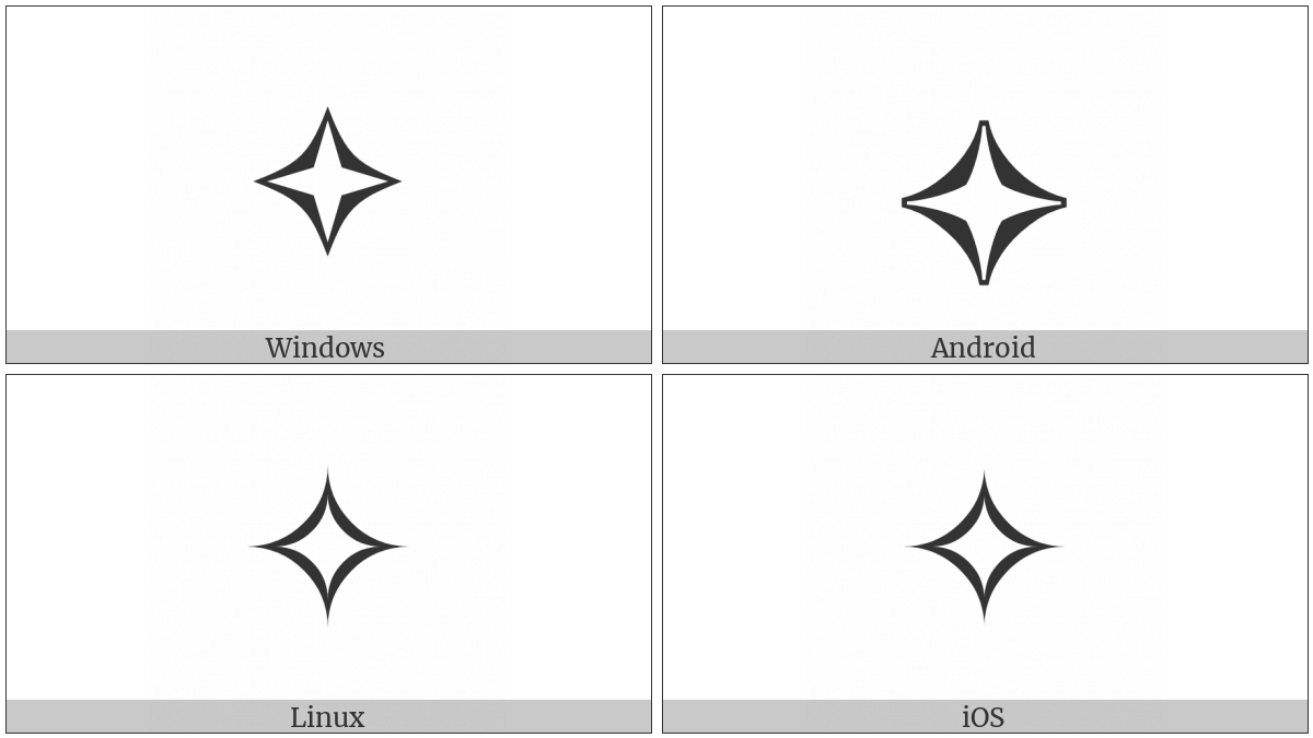 White Four Pointed Star on various operating systems