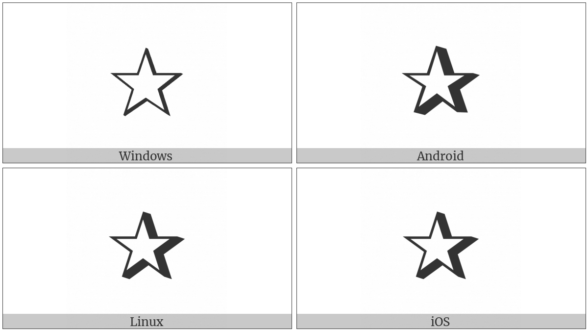 Shadowed White Star on various operating systems
