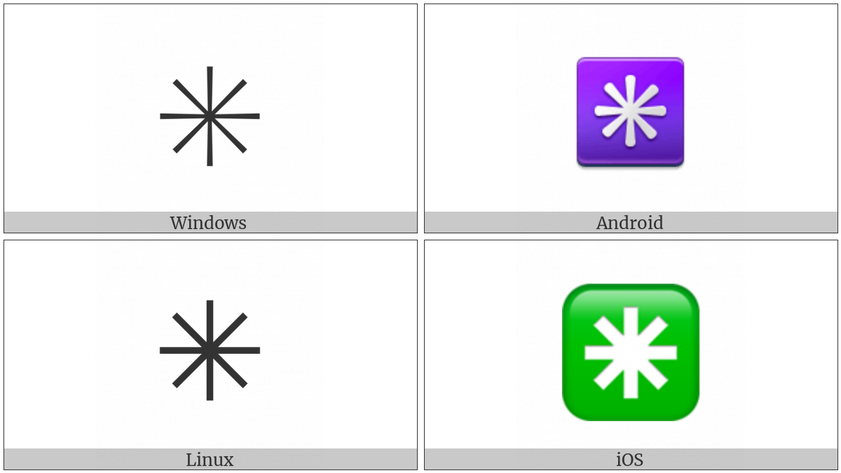 Eight Spoked Asterisk on various operating systems