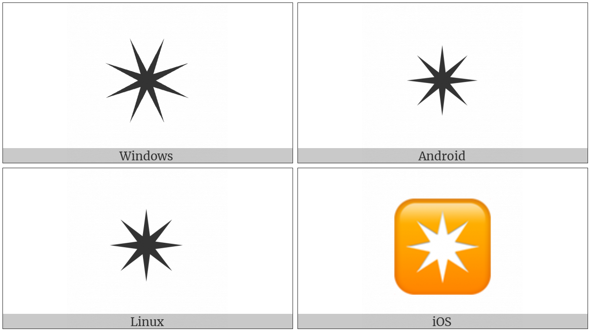 Eight Pointed Black Star on various operating systems