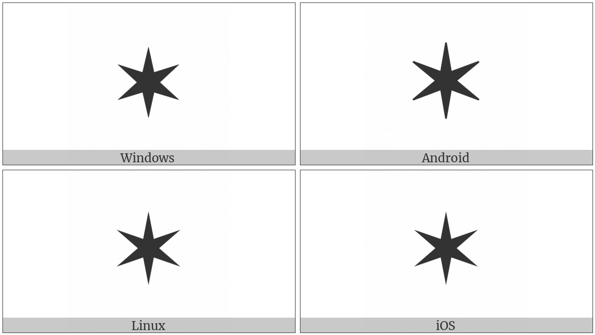 Six Pointed Black Star on various operating systems