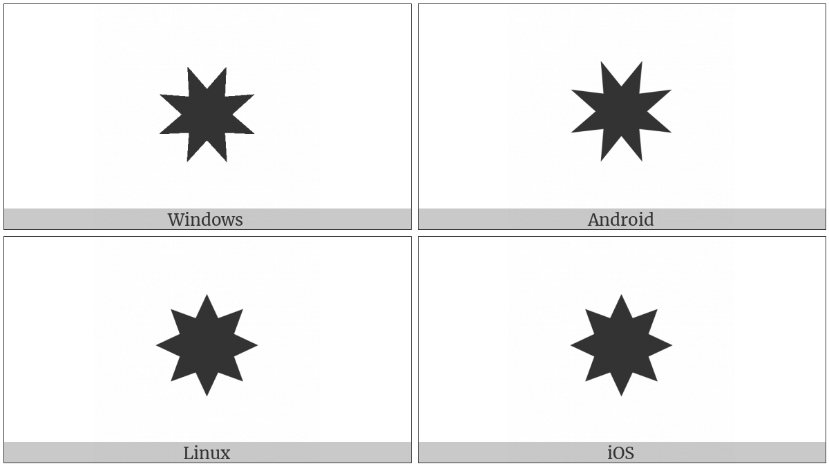 Heavy Eight Pointed Rectilinear Black Star on various operating systems