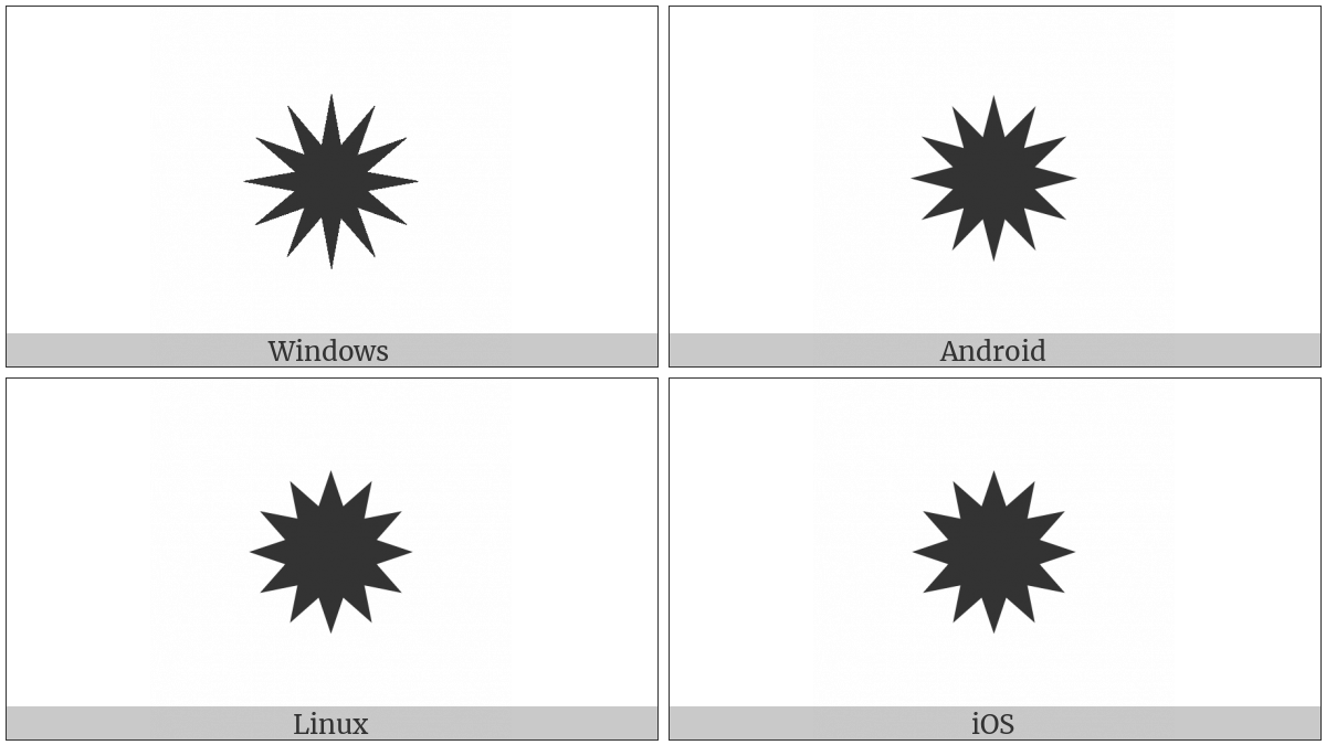 Twelve Pointed Black Star on various operating systems