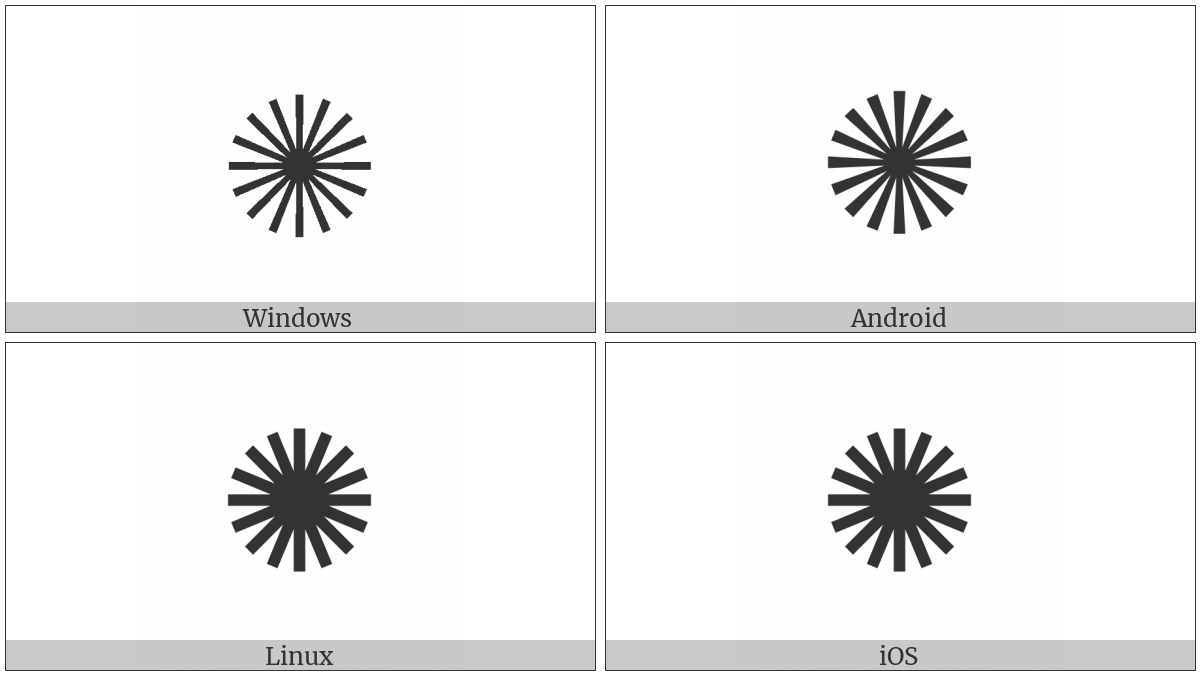 Sixteen Pointed Asterisk on various operating systems