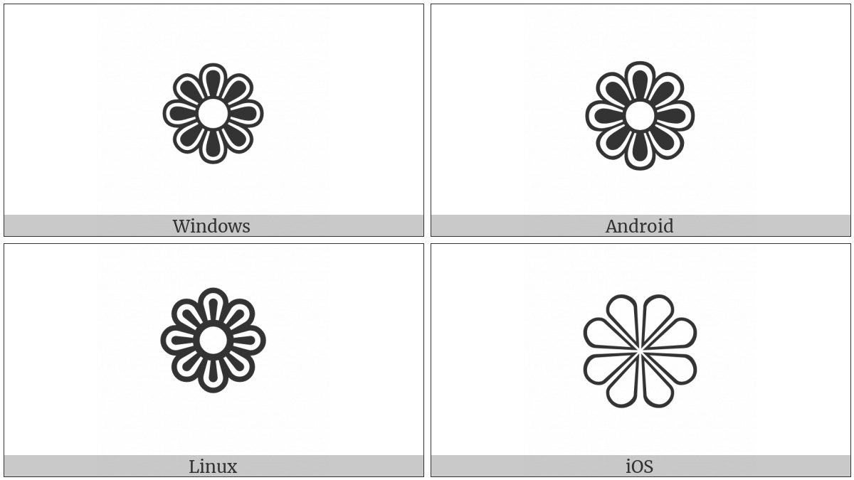 Eight Petalled Outlined Black Florette on various operating systems