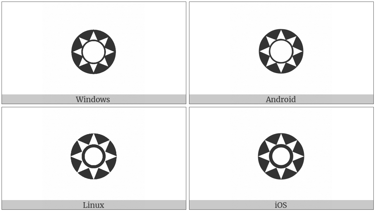 Circled Open Centre Eight Pointed Star on various operating systems