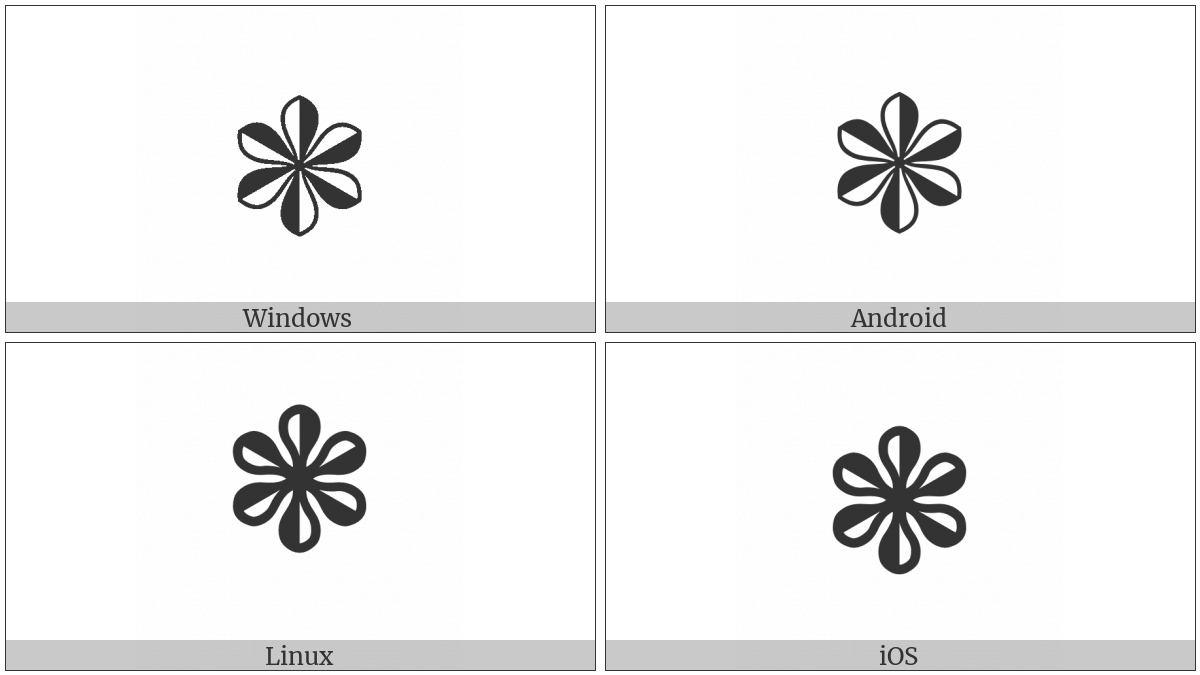 Heavy Teardrop-Spoked Pinwheel Asterisk on various operating systems
