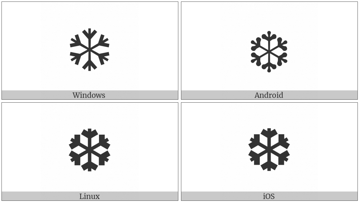 Heavy Chevron Snowflake Utf 8 Icons