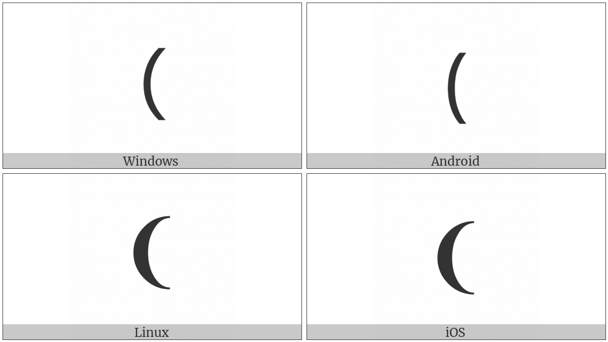 Medium Left Parenthesis Ornament on various operating systems