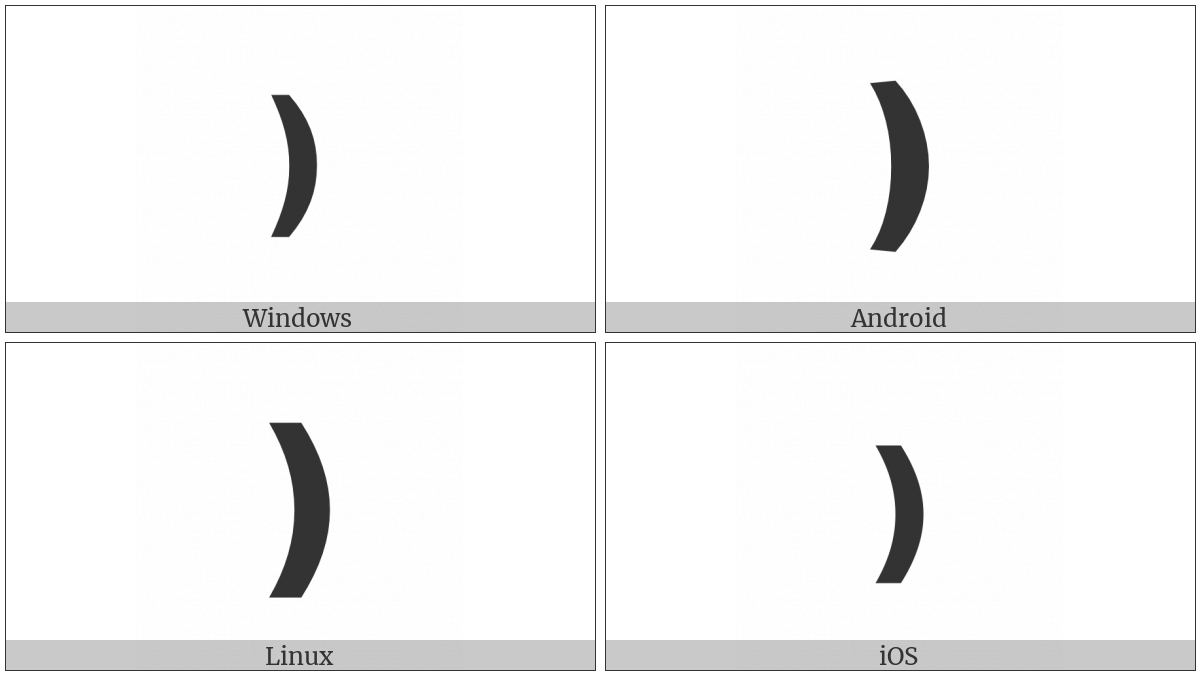 Medium Flattened Right Parenthesis Ornament on various operating systems