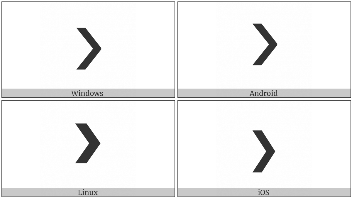 Heavy Right-Pointing Angle Quotation Mark Ornament on various operating systems
