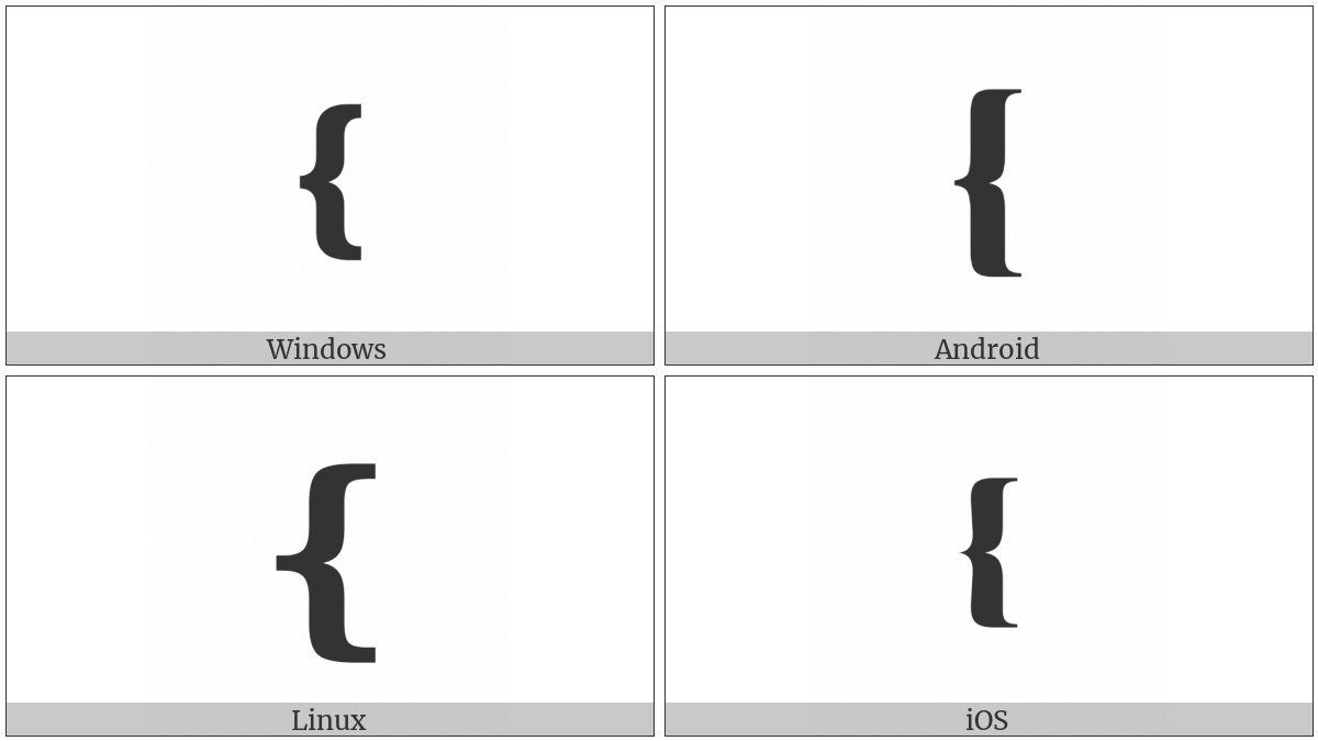 Medium Left Curly Bracket Ornament on various operating systems
