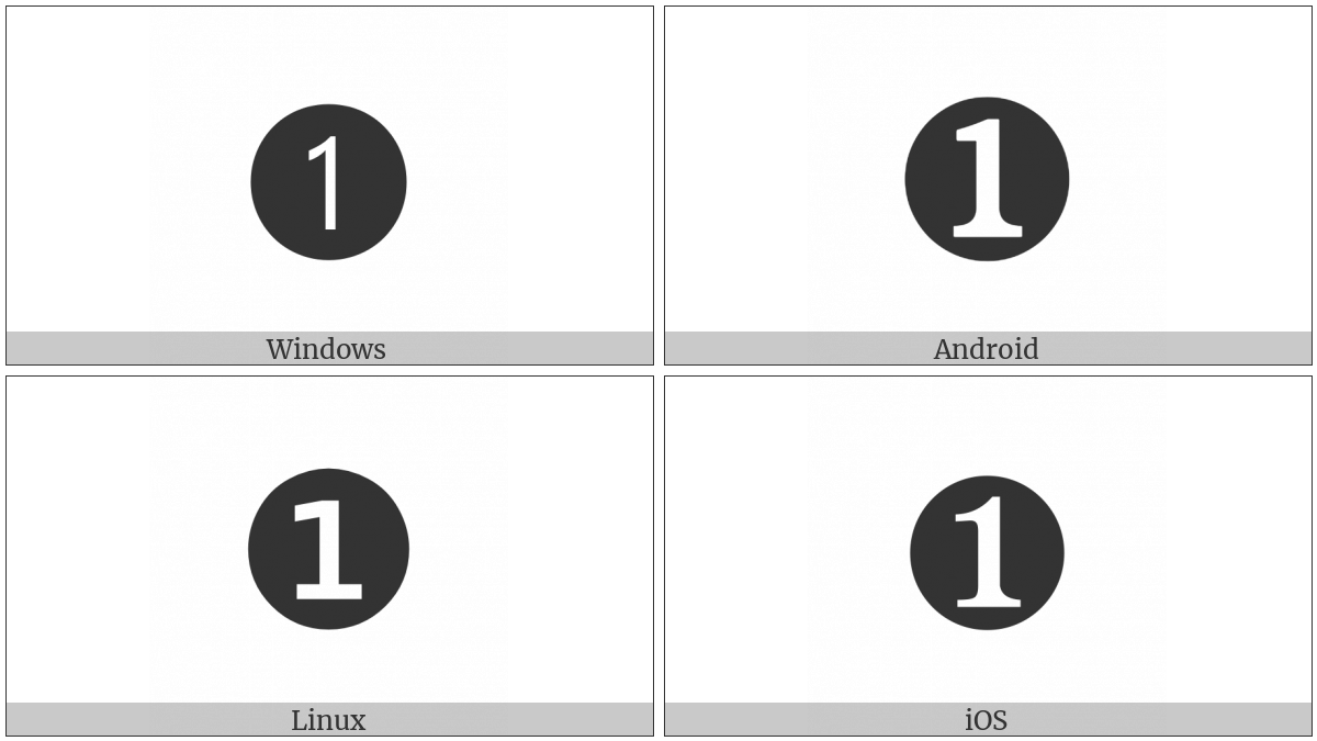 Dingbat Negative Circled Digit One on various operating systems