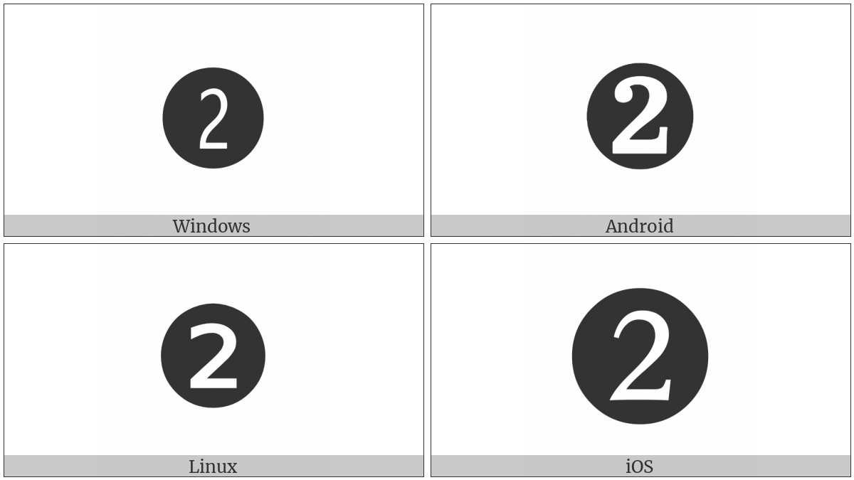 Dingbat Negative Circled Digit Two on various operating systems