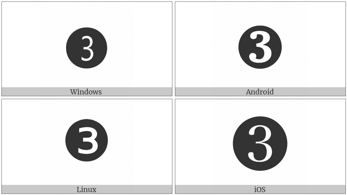 Dingbat Negative Circled Digit Three on various operating systems