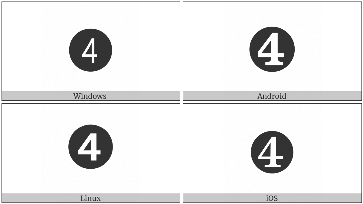 Dingbat Negative Circled Digit Four on various operating systems