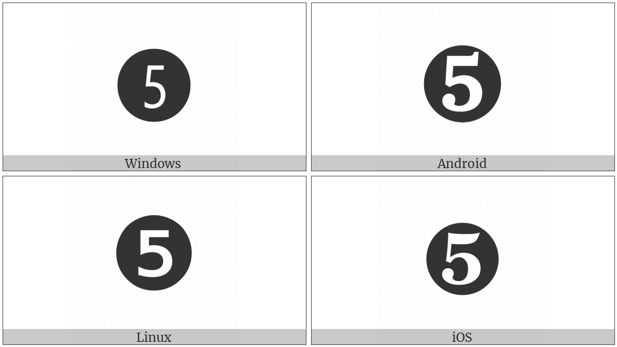 Dingbat Negative Circled Digit Five on various operating systems