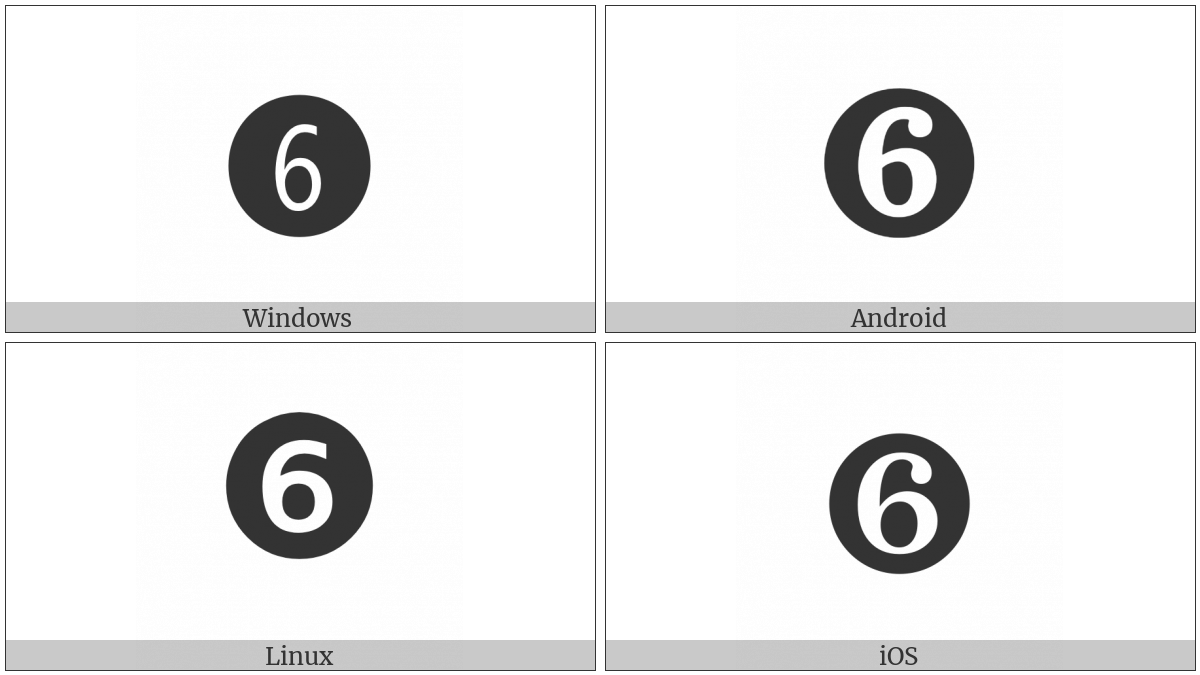 Dingbat Negative Circled Digit Six on various operating systems