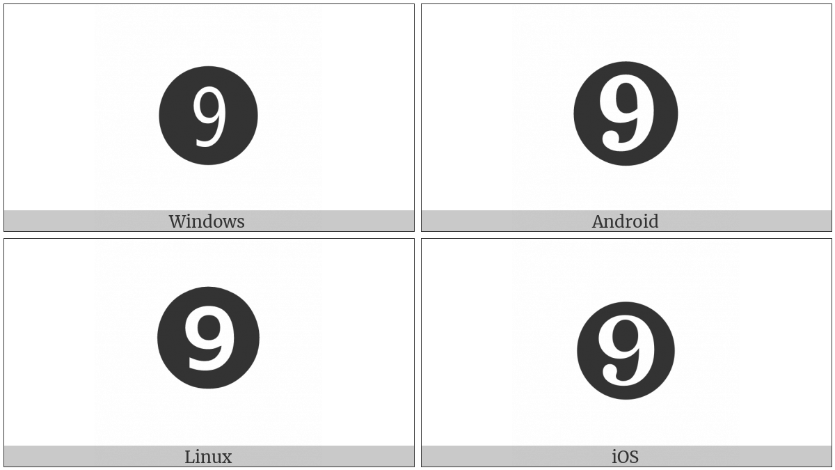 Dingbat Negative Circled Digit Nine on various operating systems