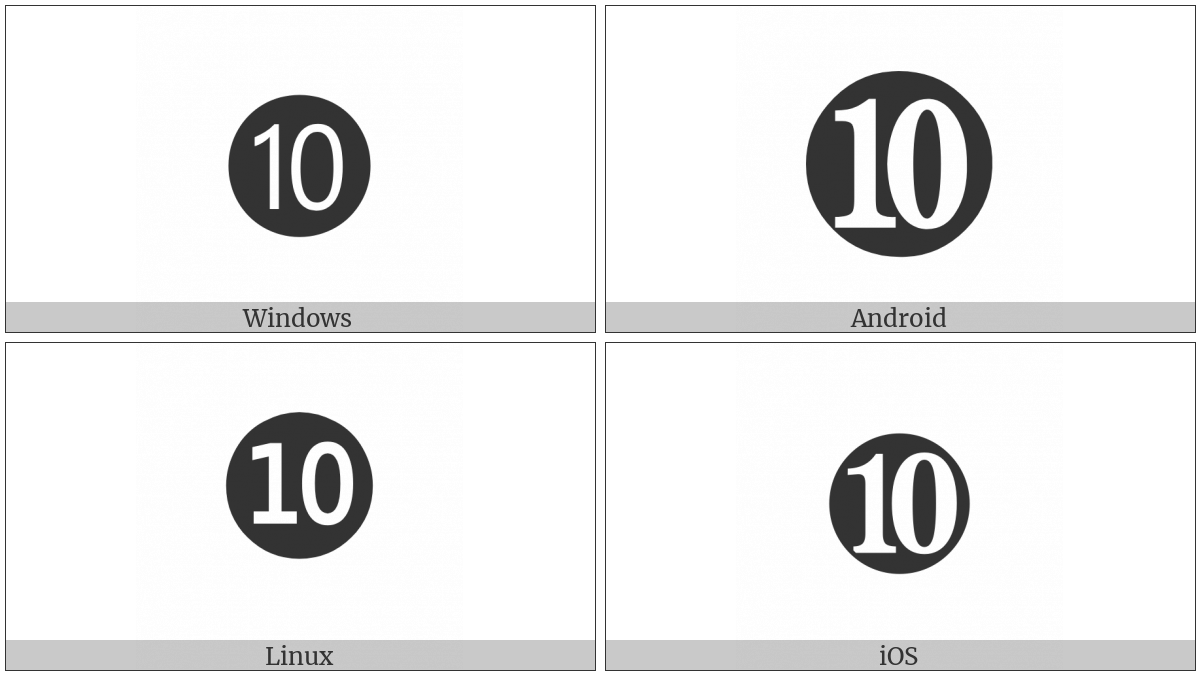 Dingbat Negative Circled Number Ten on various operating systems