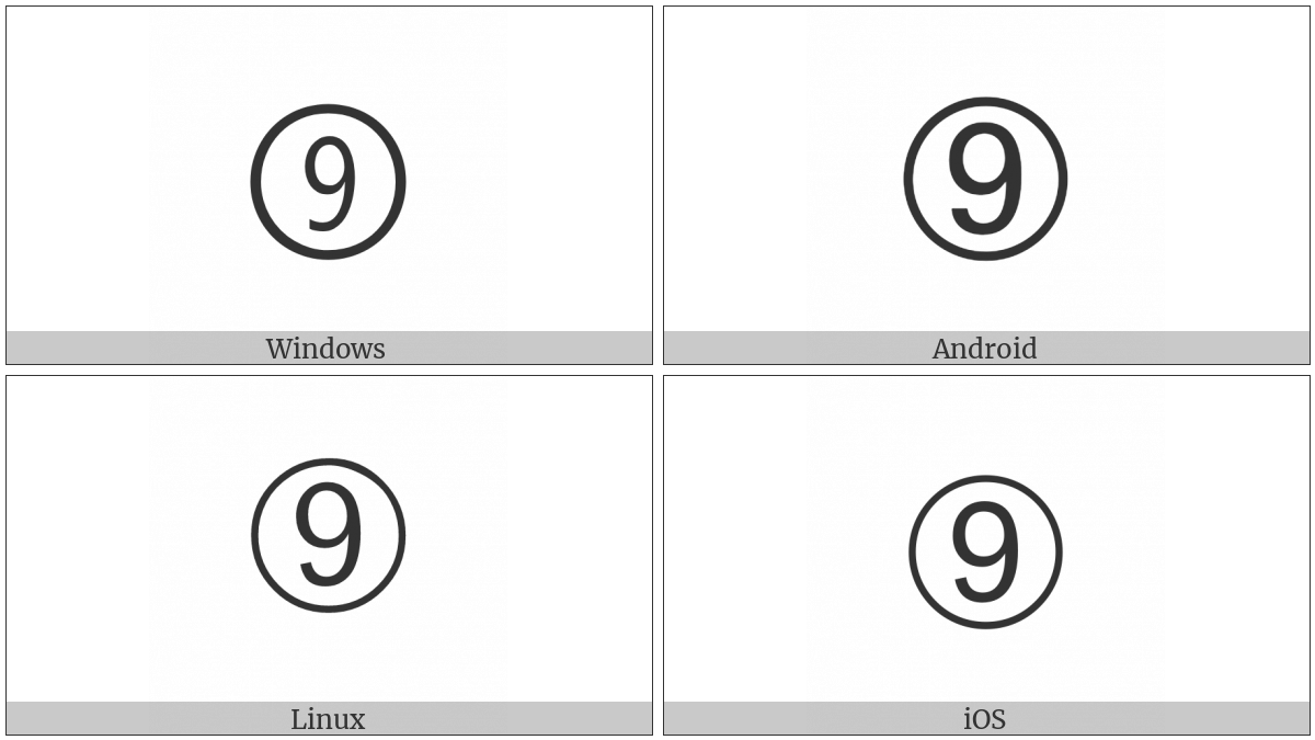 Dingbat Circled Sans-Serif Digit Nine on various operating systems