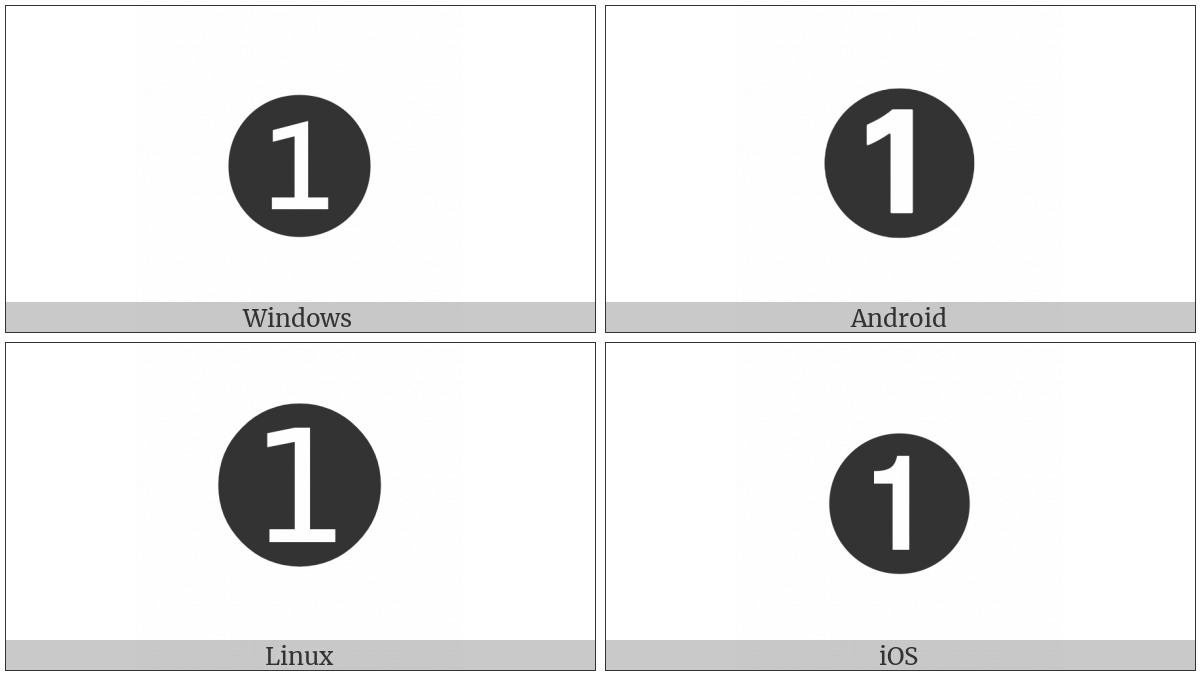 Dingbat Negative Circled Sans-Serif Digit One on various operating systems