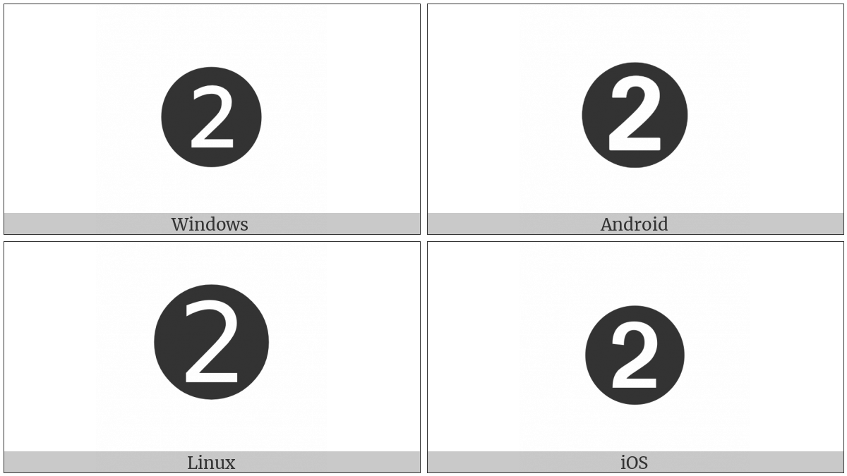 Dingbat Negative Circled Sans-Serif Digit Two on various operating systems