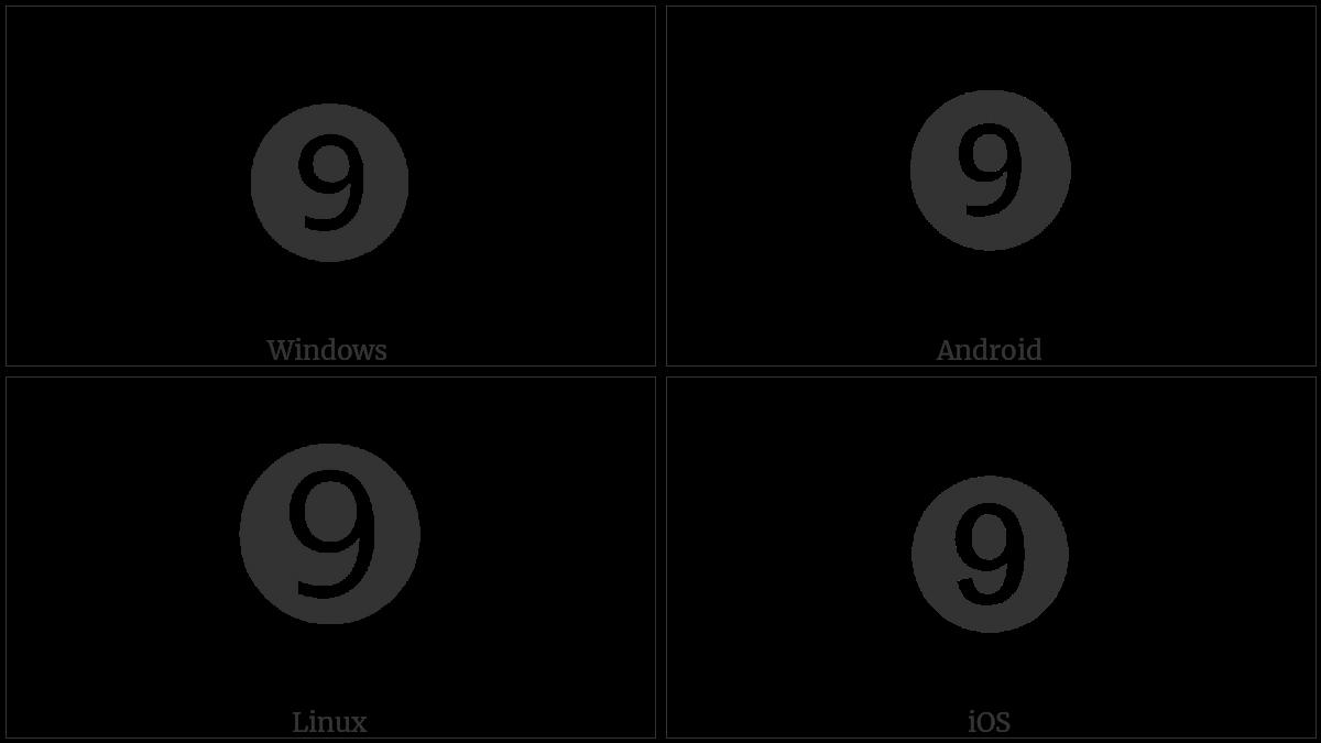 Dingbat Negative Circled Sans-Serif Digit Nine on various operating systems