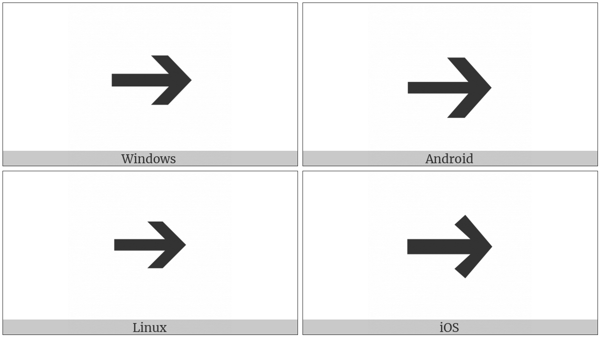 Heavy Wide-Headed Rightwards Arrow on various operating systems