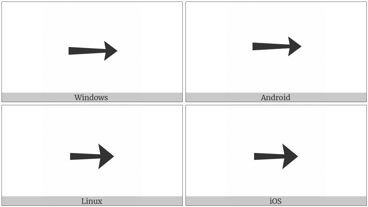 Heavy Rightwards Arrow on various operating systems