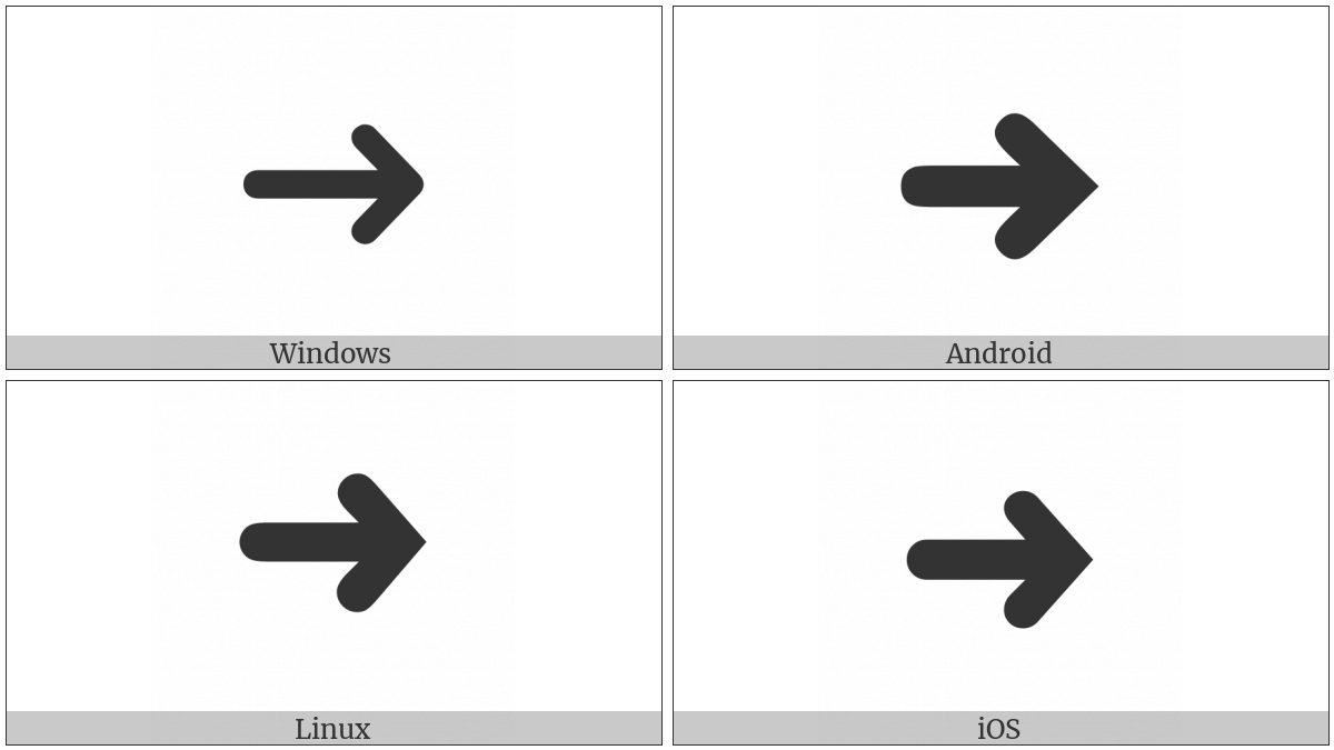 Heavy Round-Tipped Rightwards Arrow on various operating systems