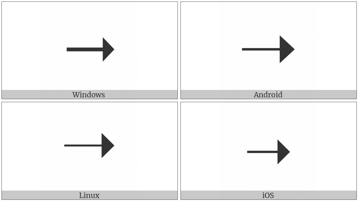 Triangle-Headed Rightwards Arrow on various operating systems