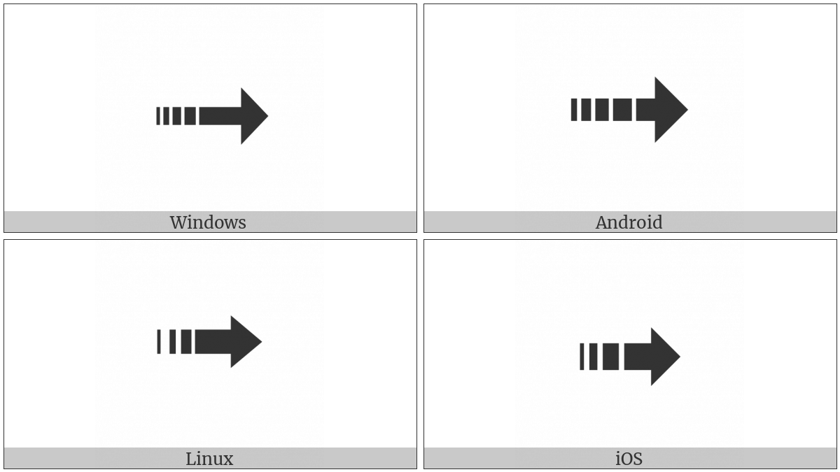 Dashed Triangle-Headed Rightwards Arrow on various operating systems