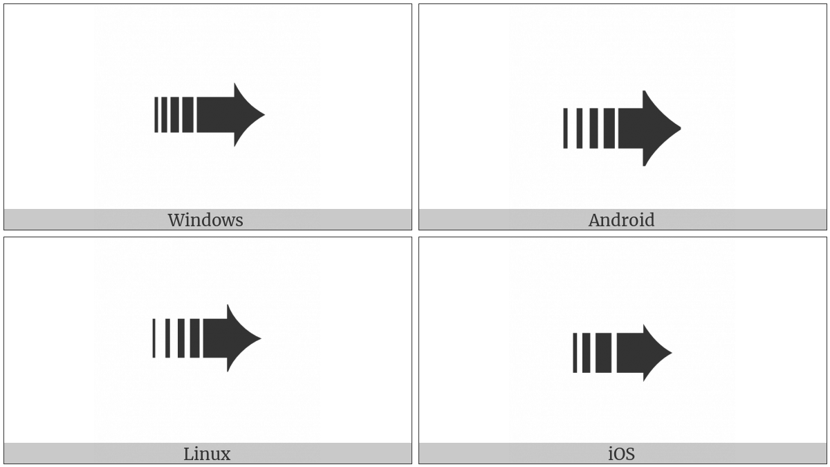 Heavy Dashed Triangle-Headed Rightwards Arrow on various operating systems
