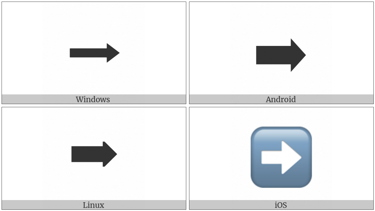 Black Rightwards Arrow on various operating systems