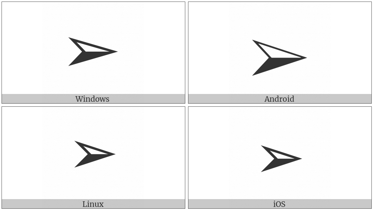 Three-D Top-Lighted Rightwards Arrowhead on various operating systems