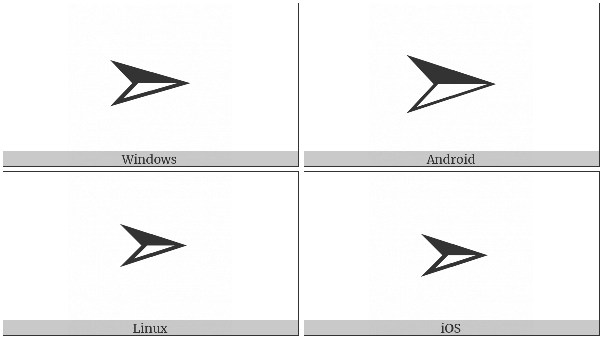 Three-D Bottom-Lighted Rightwards Arrowhead on various operating systems