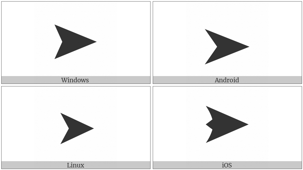 Black Rightwards Arrowhead on various operating systems