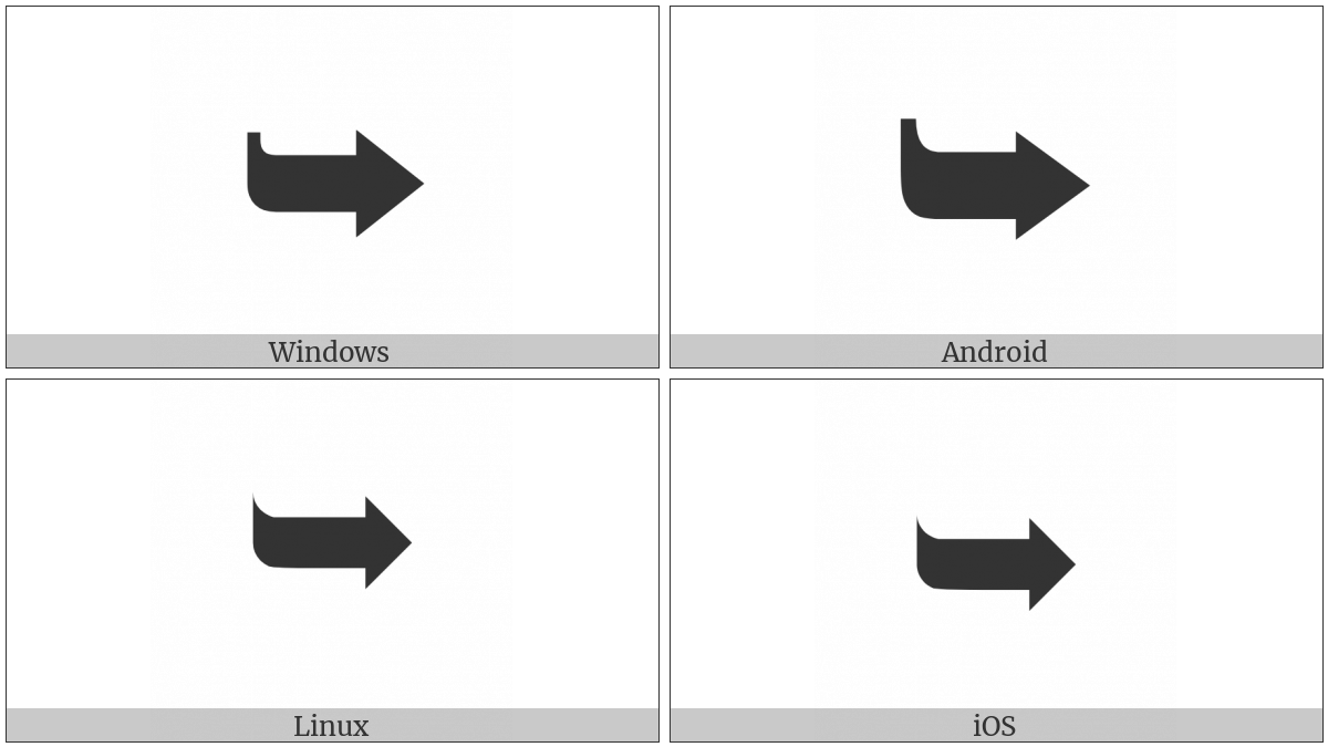 Heavy Black Curved Downwards And Rightwards Arrow on various operating systems