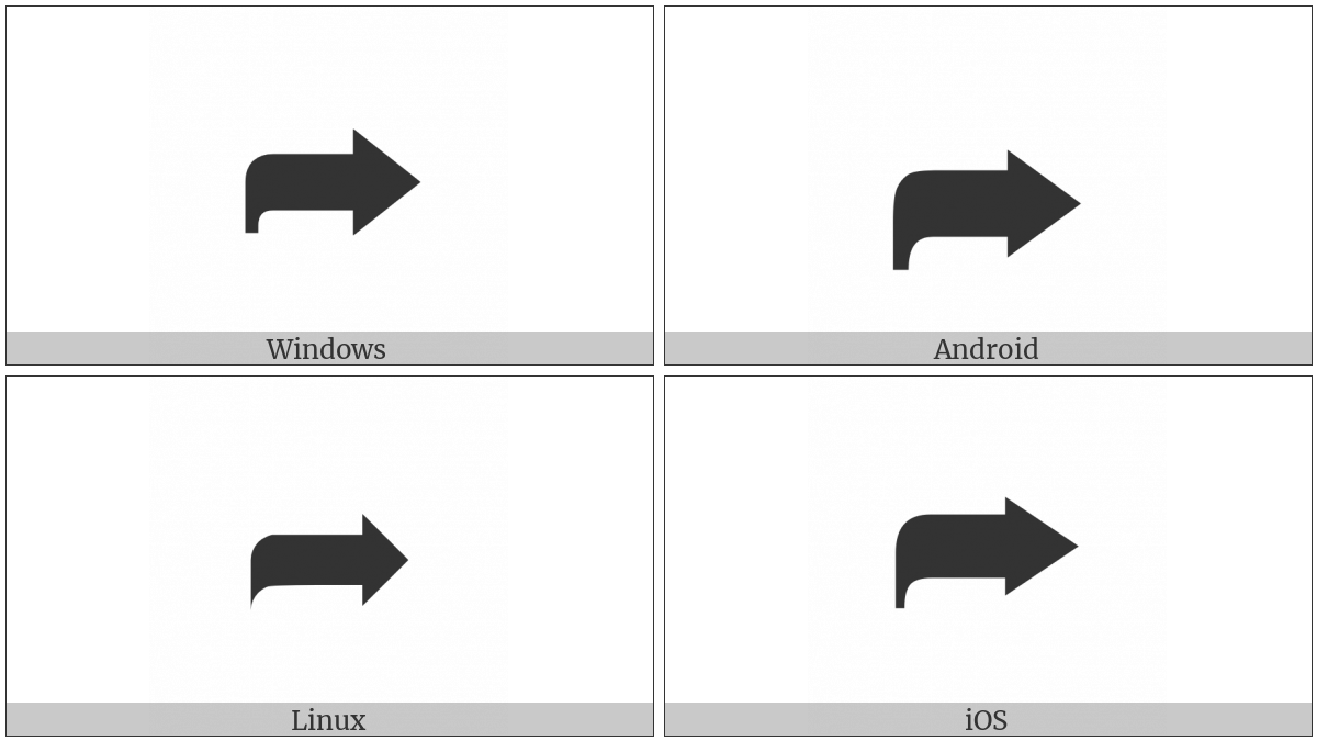 Heavy Black Curved Upwards And Rightwards Arrow on various operating systems