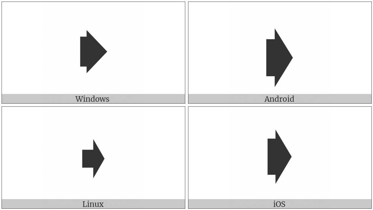 Squat Black Rightwards Arrow on various operating systems