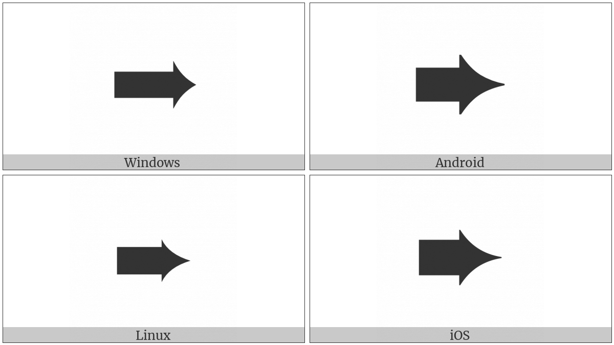 Heavy Concave-Pointed Black Rightwards Arrow on various operating systems