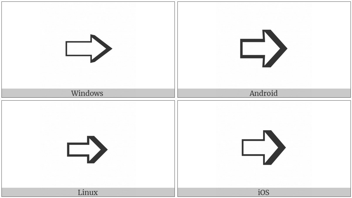 Right-Shaded White Rightwards Arrow on various operating systems