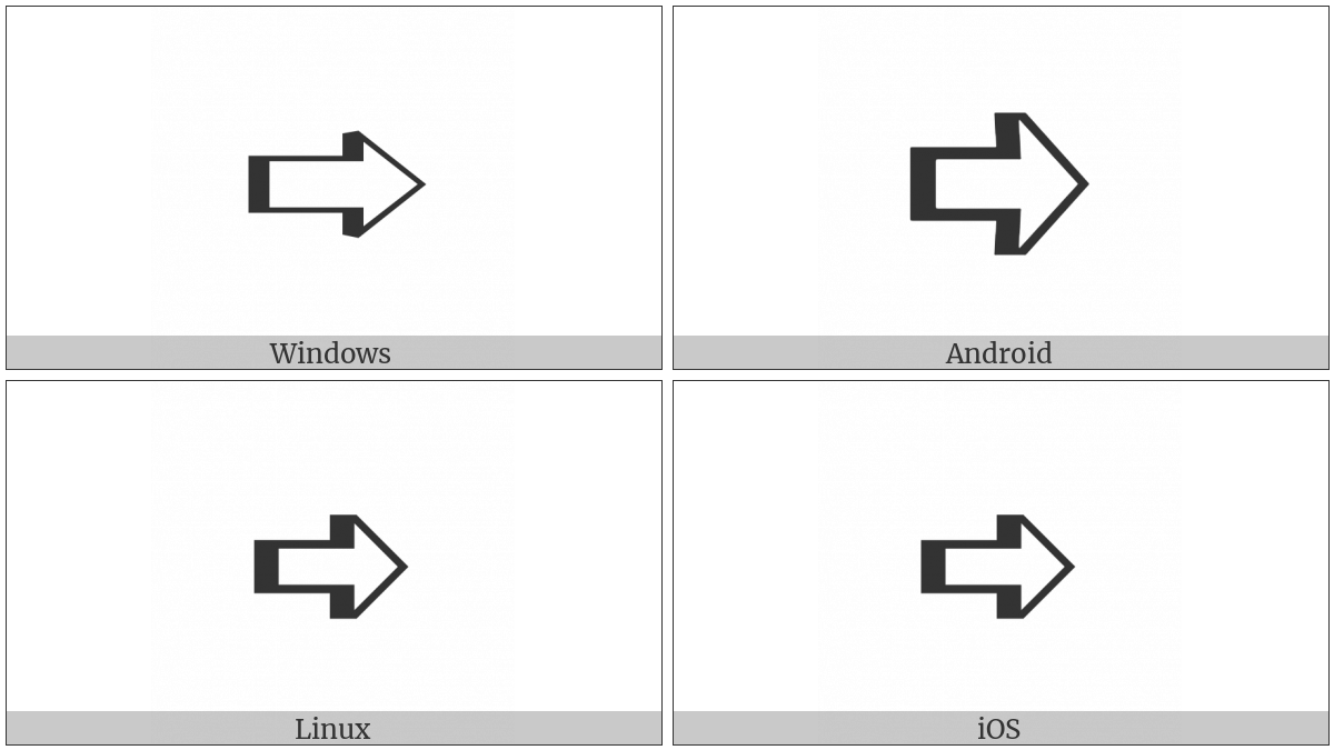 Left-Shaded White Rightwards Arrow on various operating systems