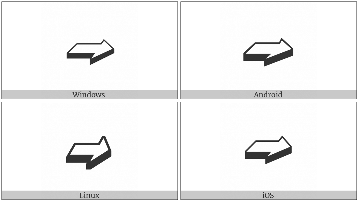 Back-Tilted Shadowed White Rightwards Arrow on various operating systems
