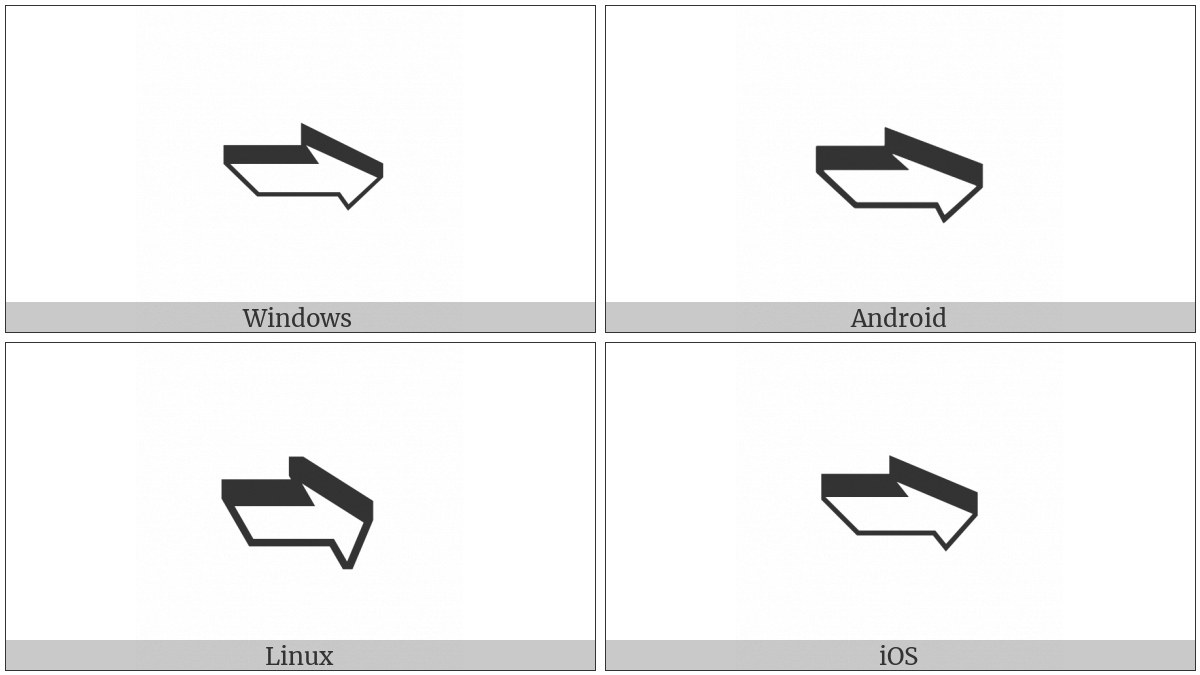 Front-Tilted Shadowed White Rightwards Arrow on various operating systems