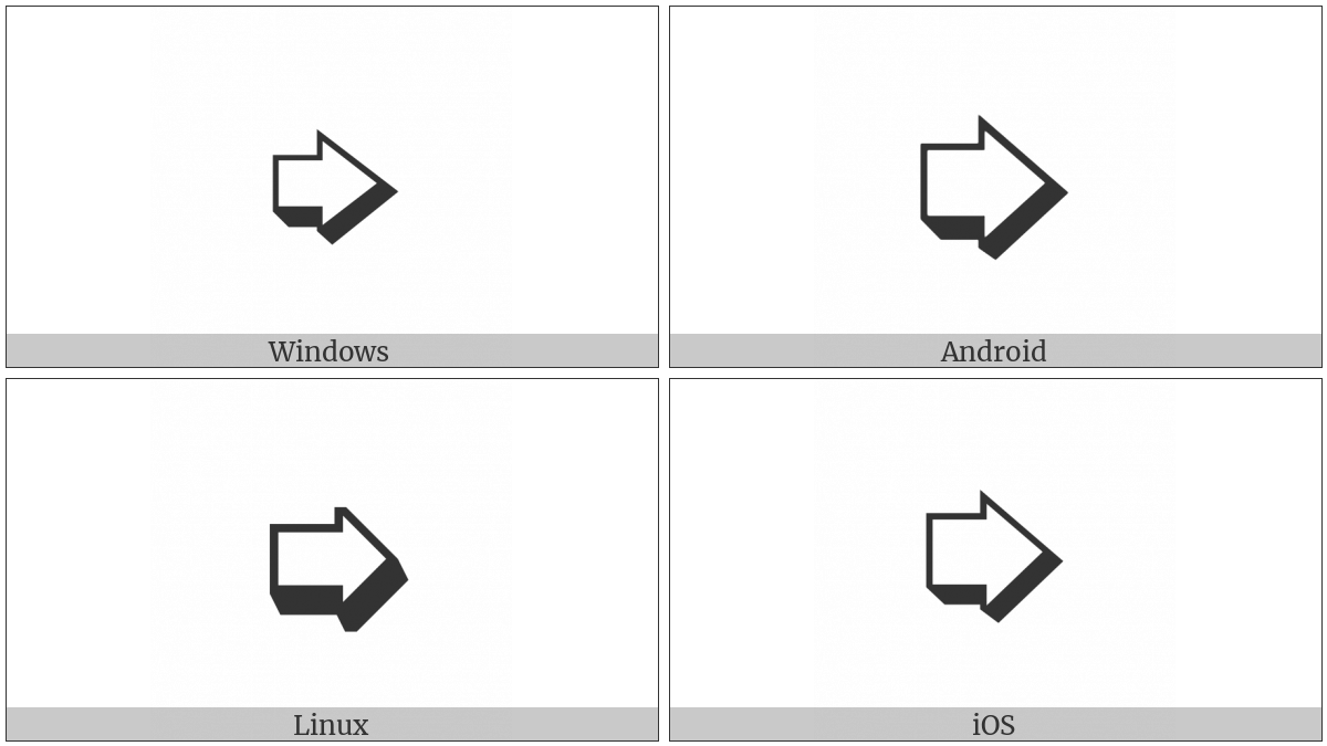 Heavy Lower Right-Shadowed White Rightwards Arrow on various operating systems