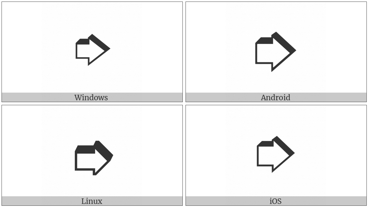 Heavy Upper Right-Shadowed White Rightwards Arrow on various operating systems