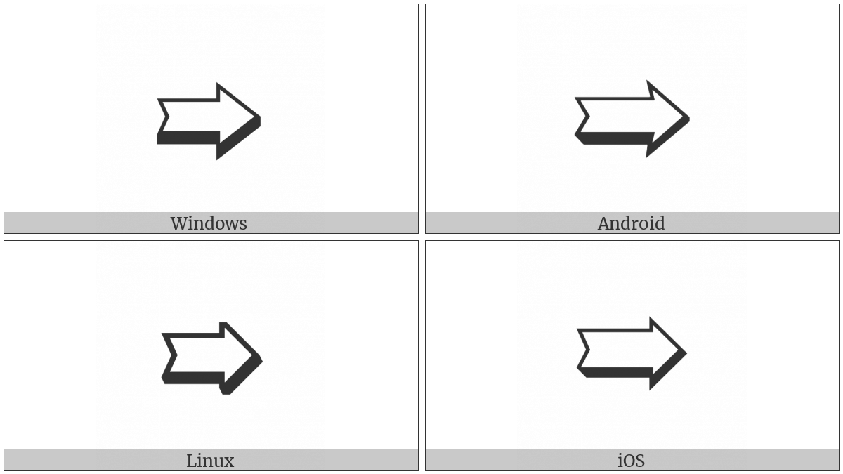 Notched Lower Right-Shadowed White Rightwards Arrow on various operating systems